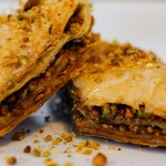 Turkish Baklava: crunchy layers of baked phyllo dough stuffed with nuts, soaked in syrup