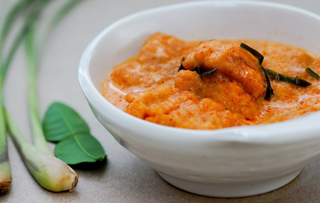 Vegetarian chicken pieces in a bowl of curry