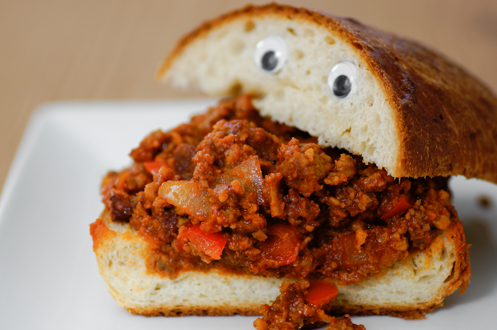 Sloppy Joes: Vegetarian meat mix between two halves of bread